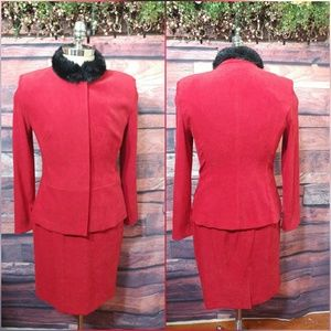 Amanda Smith Red skirt suit with faux fur collar